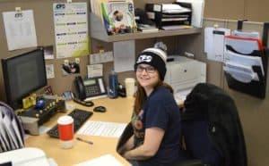 Cathleen at desk